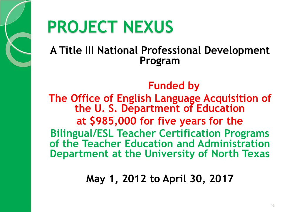 PROJECT NEXUS A Title III National Professional Development Program Funded by The Office of English Language Acquisition of the U.