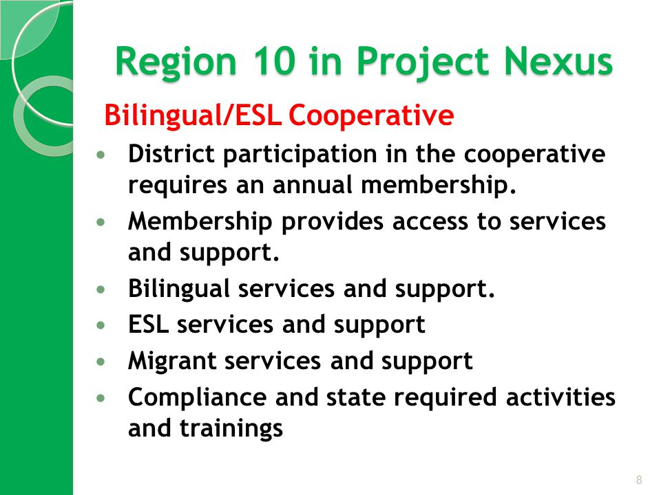 Region 10 in Project Nexus Bilingual/ESL Cooperative District participation in the cooperative requires an annual membership.