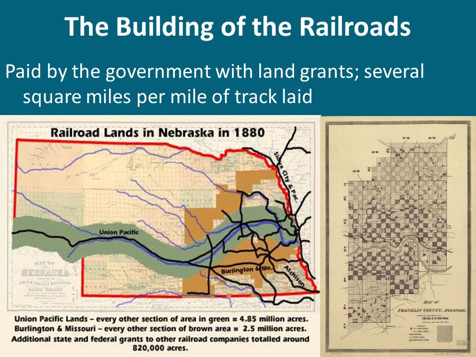 The Building of the Railroads Paid by the government with land grants; several square miles per mile of track laid