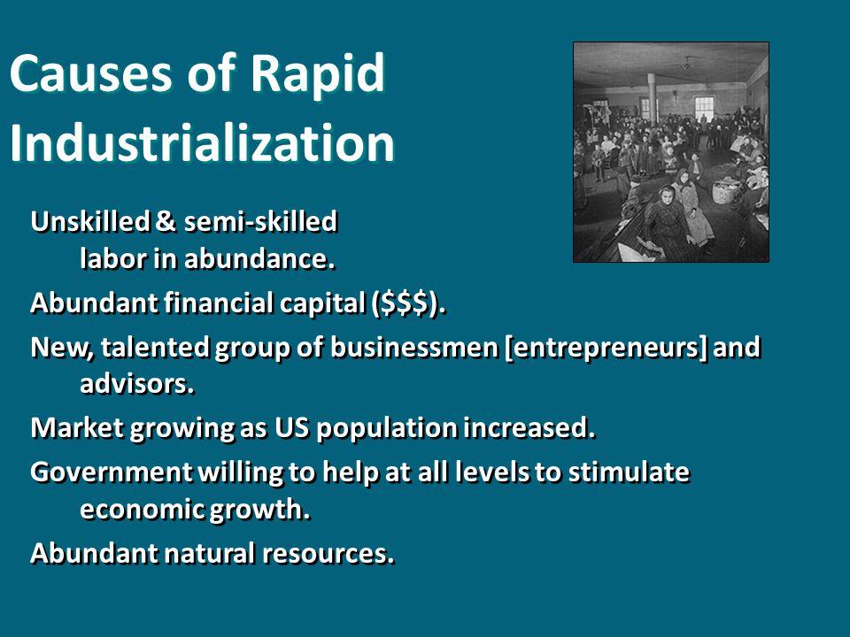 Unskilled & semi-skilled labor in abundance. Abundant financial capital ($$$).