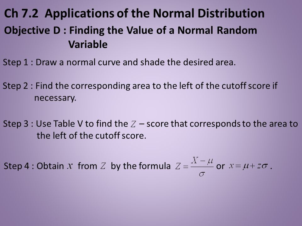 Step 4 : Obtain from by the formula or. Step 1 : Draw a normal curve and shade the desired area. Step 3 : Use Table V to find the – score that corresp