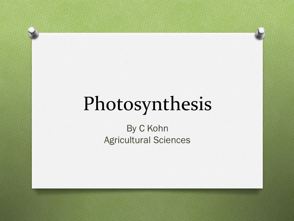 Photosynthesis By C Kohn Agricultural Sciences