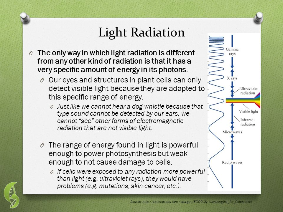 Light Radiation O The only way in which light radiation is different from any other kind of radiation is that it has a very specific amount of energy in its photons.