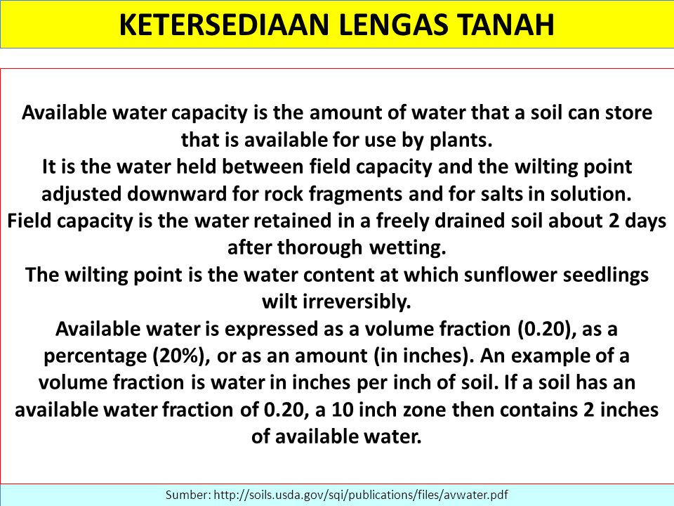 KETERSEDIAAN LENGAS TANAH Sumber: http://soils.usda.gov/sqi/publications/files/avwater.pdf Available water capacity is the amount of water that a soil can store that is available for use by plants.