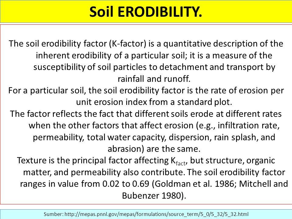 Soil ERODIBILITY. Sumber: http://mepas.pnnl.gov/mepas/formulations/source_term/5_0/5_32/5_32.html The soil erodibility factor (K-factor) is a quantita