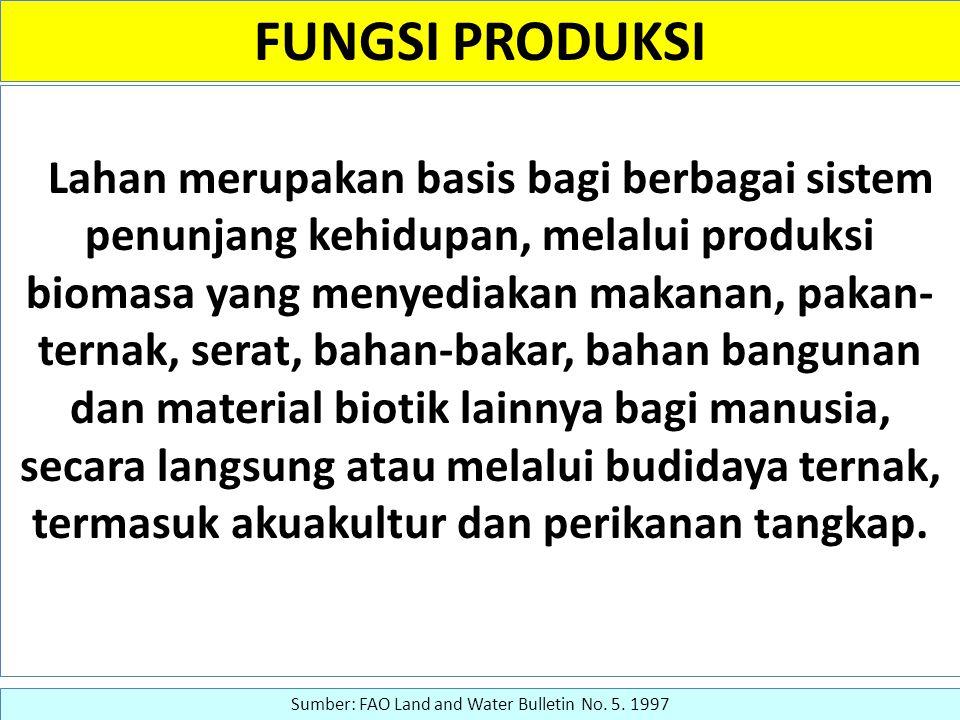 FUNGSI PRODUKSI Lahan merupakan basis bagi berbagai sistem penunjang kehidupan, melalui produksi biomasa yang menyediakan makanan, pakan- ternak, sera