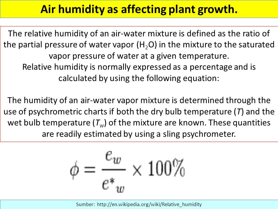 Air humidity as affecting plant growth.