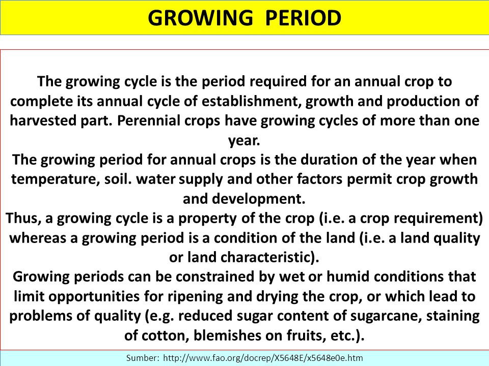 GROWING PERIOD Sumber: http://www.fao.org/docrep/X5648E/x5648e0e.htm The growing cycle is the period required for an annual crop to complete its annual cycle of establishment, growth and production of harvested part.