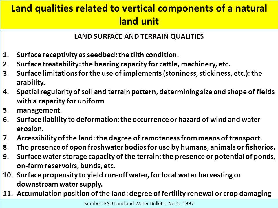 Land qualities related to vertical components of a natural land unit LAND SURFACE AND TERRAIN QUALITIES 1.Surface receptivity as seedbed: the tilth condition.