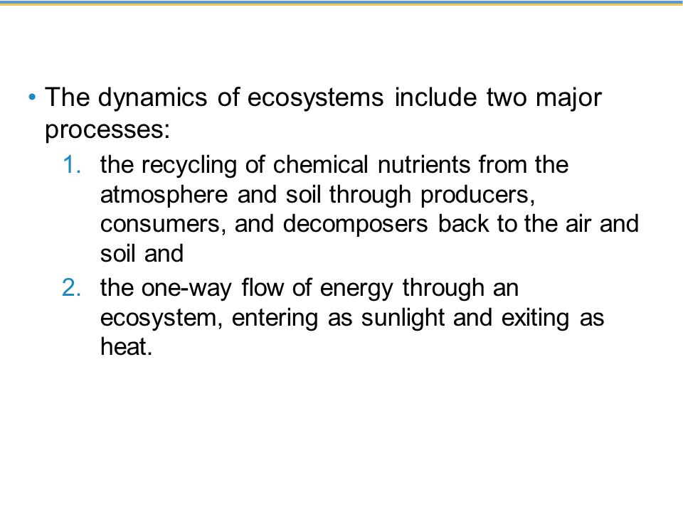 The dynamics of ecosystems include two major processes: 1.the recycling of chemical nutrients from the atmosphere and soil through producers, consumer