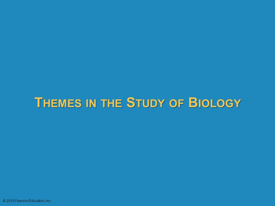 T HEMES IN THE S TUDY OF B IOLOGY © 2015 Pearson Education, Inc. THEMES IN THE STUDY OF BIOLOGY
