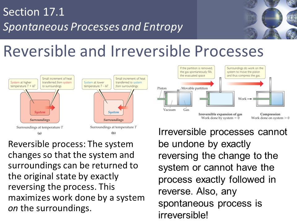 Section 17.1 Spontaneous Processes and Entropy Reversible and Irreversible Processes Reversible process: The system changes so that the system and sur