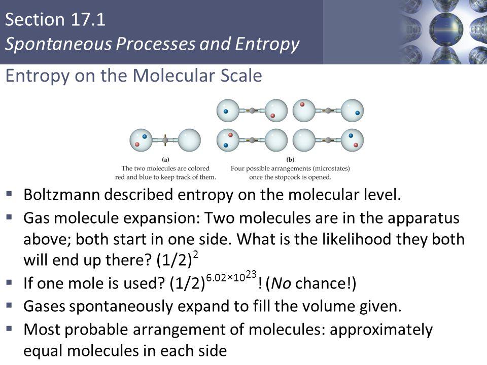 Section 17.1 Spontaneous Processes and Entropy Entropy on the Molecular Scale  Boltzmann described entropy on the molecular level.  Gas molecule exp