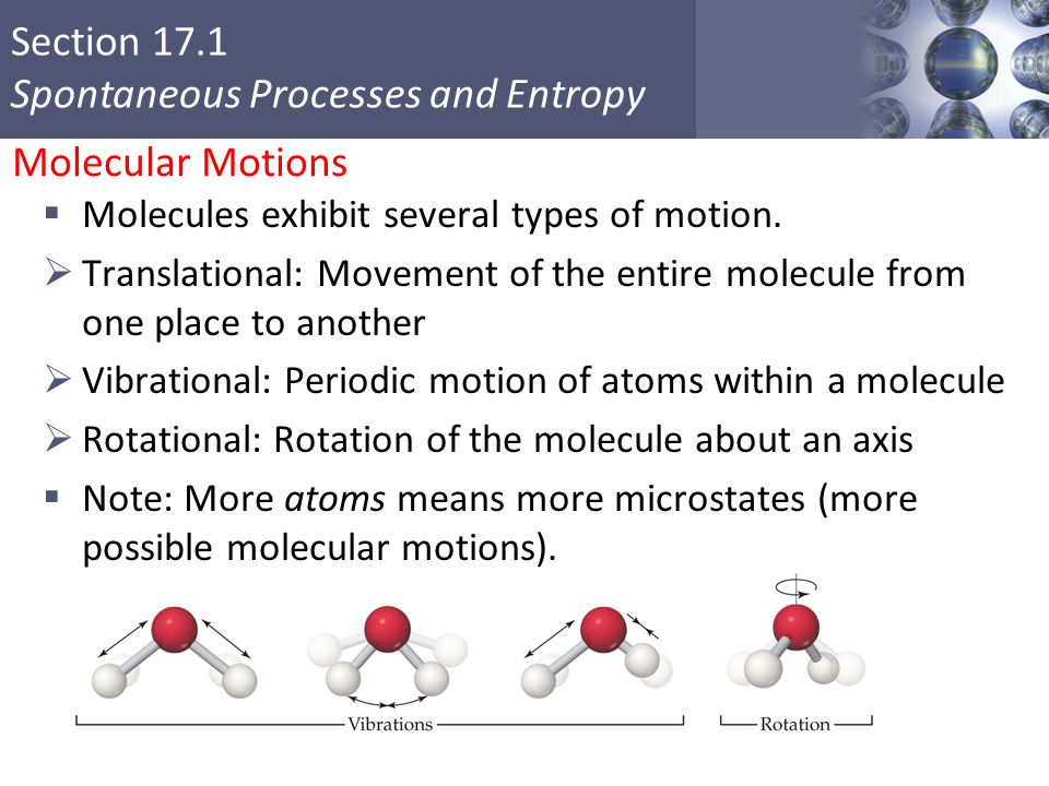Section 17.1 Spontaneous Processes and Entropy Molecular Motions  Molecules exhibit several types of motion.  Translational: Movement of the entire