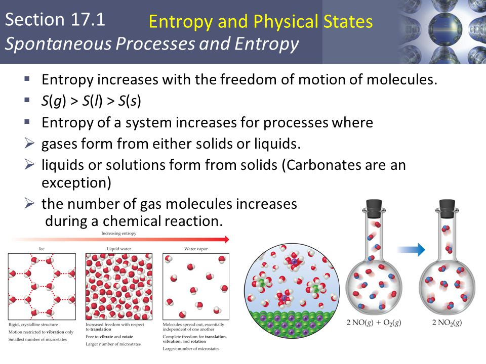 Section 17.1 Spontaneous Processes and Entropy Entropy and Physical States  Entropy increases with the freedom of motion of molecules.  S(g) > S(l)