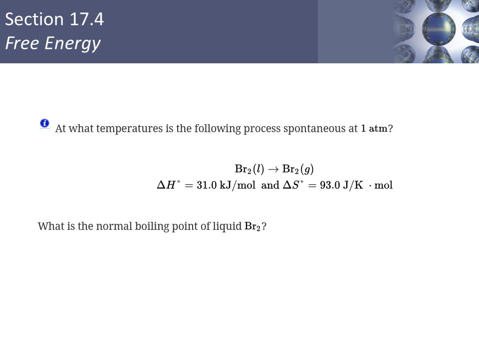 Section 17.4 Free Energy