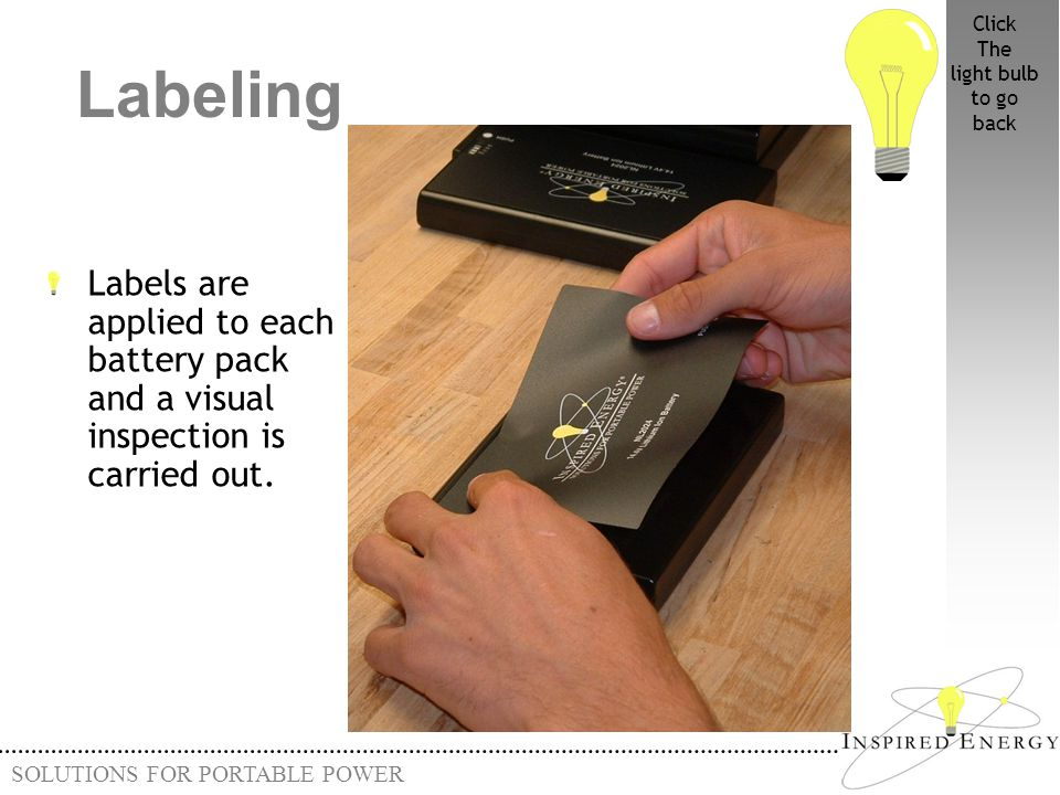 SOLUTIONS FOR PORTABLE POWER Labeling Labels are applied to each battery pack and a visual inspection is carried out. Click The light bulb to go back