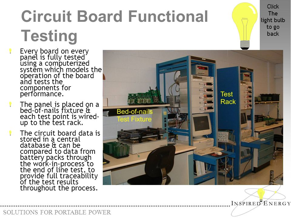 SOLUTIONS FOR PORTABLE POWER Circuit Board Functional Testing Every board on every panel is fully tested using a computerized system which models the