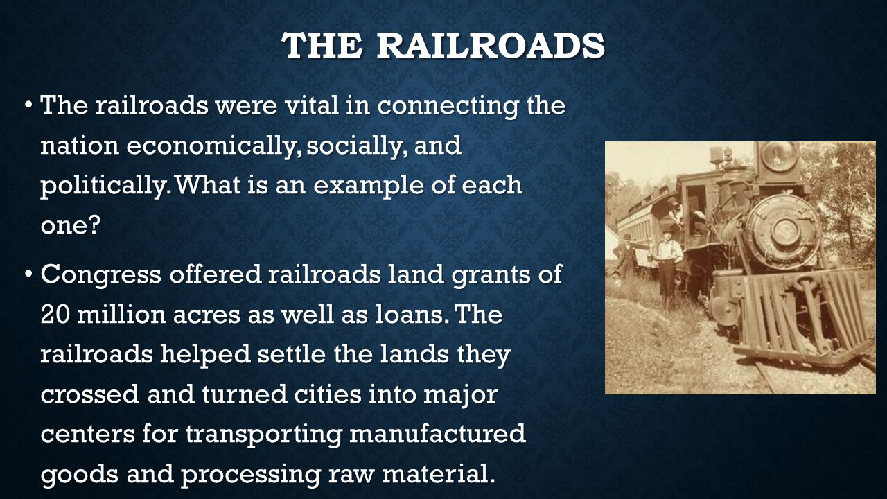 THE TRANSCONTINENTAL RAILROAD Completed in 1869 at Promontory Point, Utah when the Southern Pacific and Union Pacific railroads linked together forming the first connection from the Atlantic to Pacific.