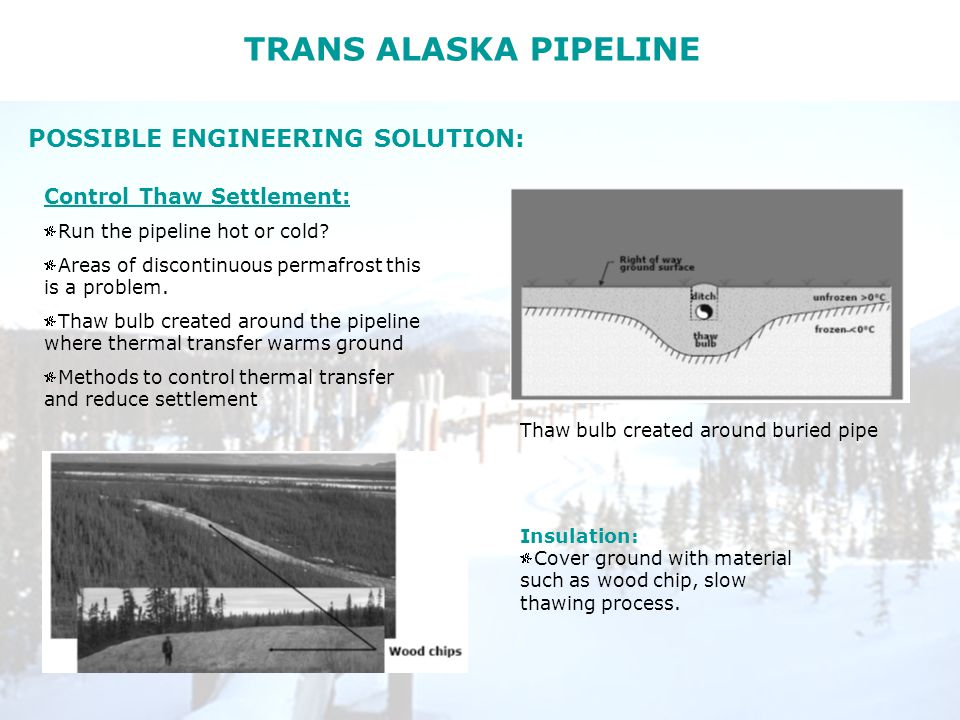 TRANS ALASKA PIPELINE POSSIBLE ENGINEERING SOLUTION: Control Thaw Settlement: Run the pipeline hot or cold.