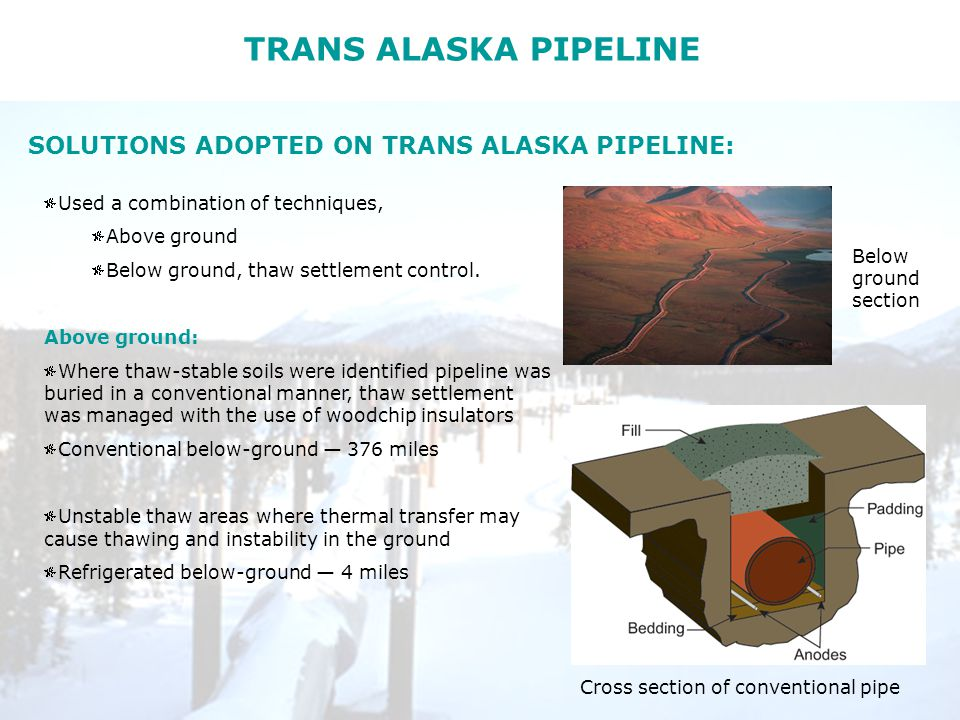 TRANS ALASKA PIPELINE SOLUTIONS ADOPTED ON TRANS ALASKA PIPELINE: Used a combination of techniques, Above ground Below ground, thaw settlement control.
