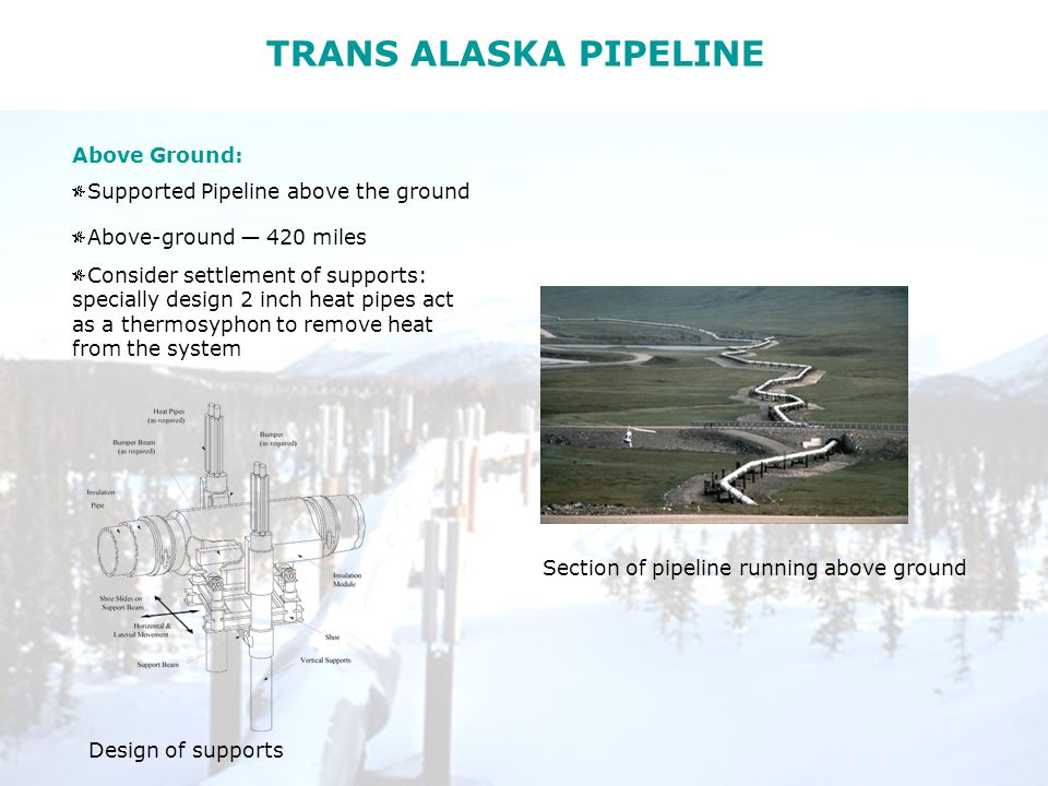 TRANS ALASKA PIPELINE Above Ground: Supported Pipeline above the ground Above-ground — 420 miles Consider settlement of supports: specially design 2 inch heat pipes act as a thermosyphon to remove heat from the system Design of supports Section of pipeline running above ground