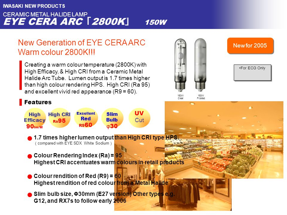 IWASAKI NEW PRODUCTS CERAMIC METAL HALIDE LAMP EYE CERA ARC 「 2800K 」 150W Features High CRI Ra 95 150W Clear Excellent Red R9 60 Creating a warm colo