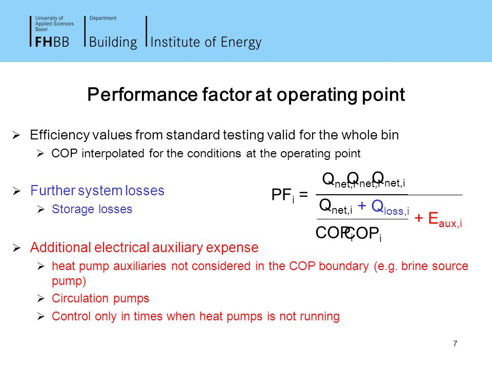 7 Performance factor at operating point  Efficiency values from standard testing valid for the whole bin  COP interpolated for the conditions at the