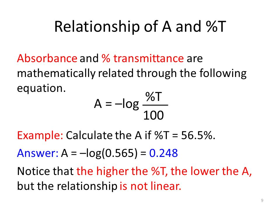 Relationship of A and %T Absorbance and % transmittance are mathematically related through the following equation.