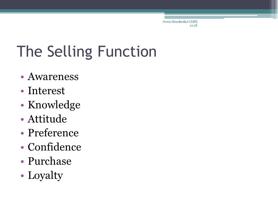 The Selling Function Awareness Interest Knowledge Attitude Preference Confidence Purchase Loyalty Owen Hendershot UMFK 2008