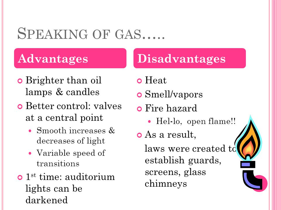 S PEAKING OF GAS ….. Brighter than oil lamps & candles Better control: valves at a central point Smooth increases & decreases of light Variable speed
