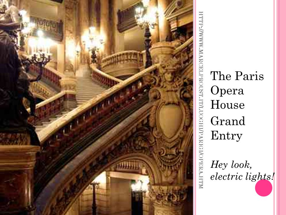 HTTP :// WWW. MARCELPROUST. IT / LUOGHI / PARIGI / OPERA. HTM The Paris Opera House Grand Entry Hey look, electric lights!