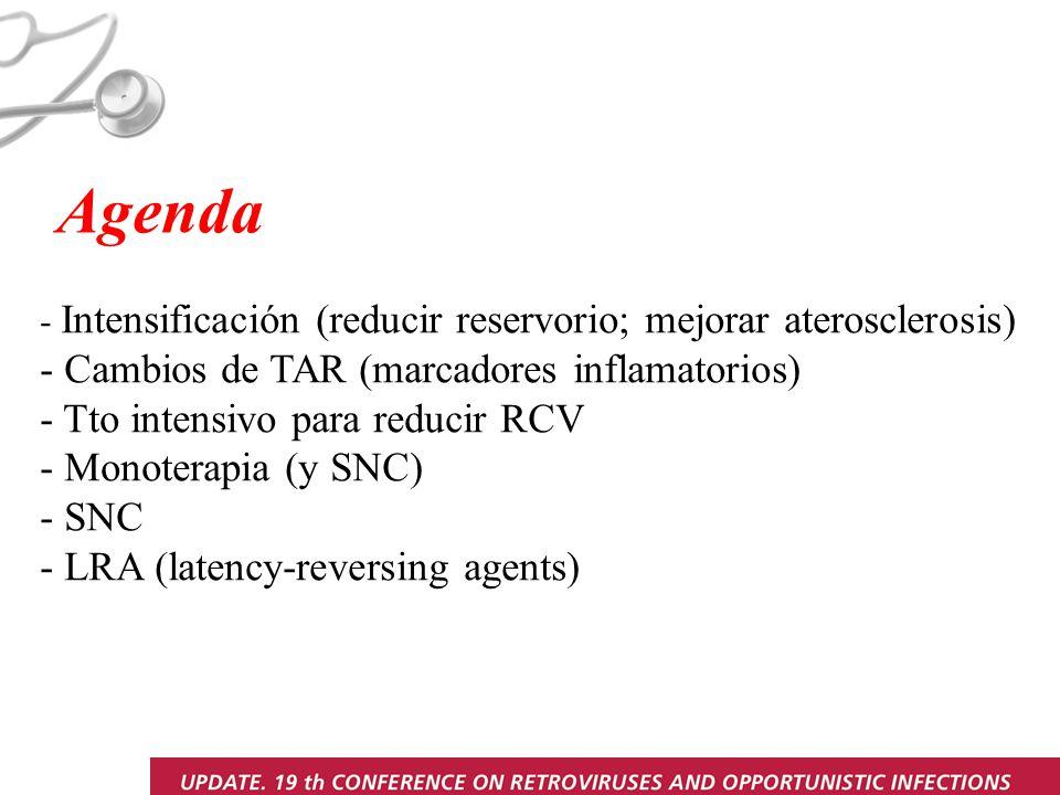 Agenda - Intensificación (reducir reservorio; mejorar aterosclerosis) - Cambios de TAR (marcadores inflamatorios) - Tto intensivo para reducir RCV - Monoterapia (y SNC) - SNC - LRA (latency-reversing agents)
