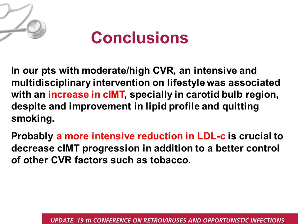 In our pts with moderate/high CVR, an intensive and multidisciplinary intervention on lifestyle was associated with an increase in cIMT, specially in carotid bulb region, despite and improvement in lipid profile and quitting smoking.