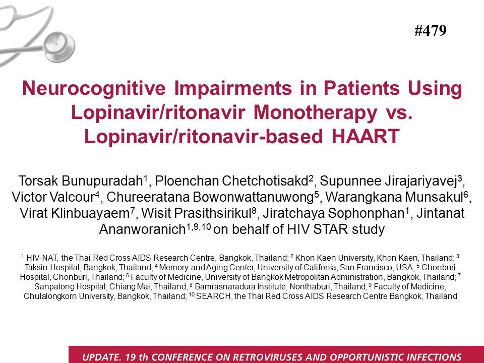 Neurocognitive Impairments in Patients Using Lopinavir/ritonavir Monotherapy vs.