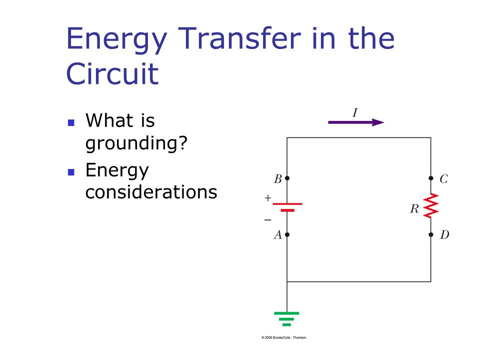 Energy Transfer in the Circuit What is grounding Energy considerations