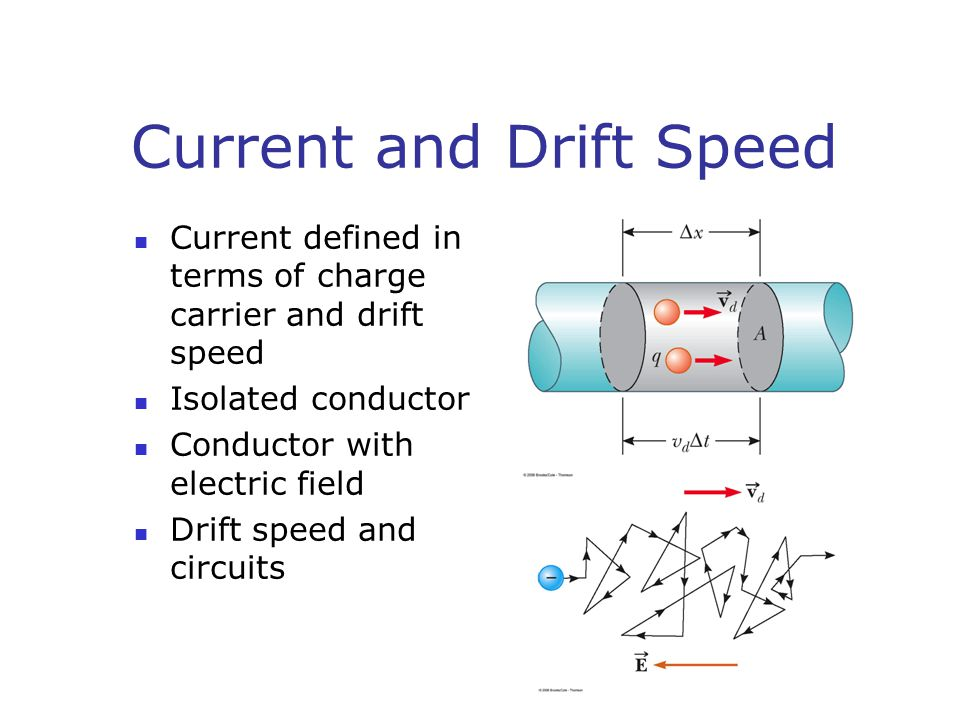 Current and Drift Speed Current defined in terms of charge carrier and drift speed Isolated conductor Conductor with electric field Drift speed and circuits