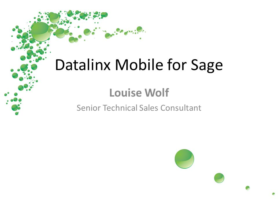Datalinx Mobile for Sage Louise Wolf Senior Technical Sales Consultant