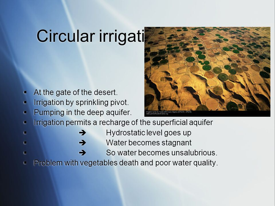 Circular irrigation in Algeria  At the gate of the desert.