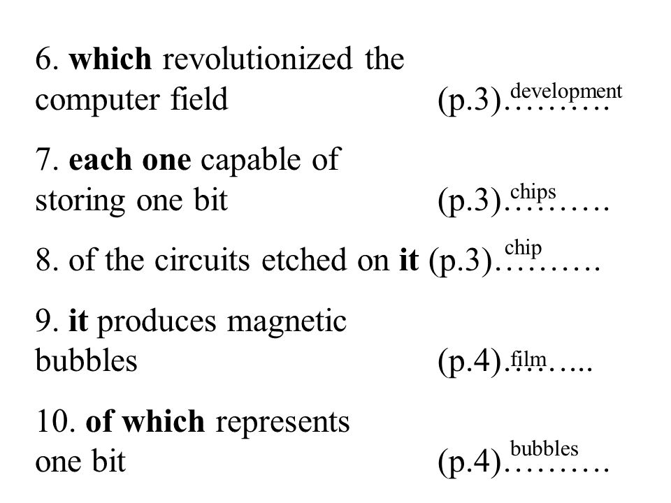 27 6. which revolutionized the computer field (p.3)……….