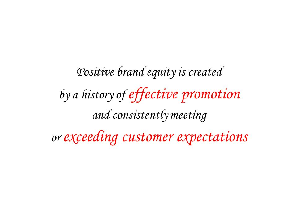 Positive brand equity is created by a history of effective promotion and consistently meeting or exceeding customer expectations