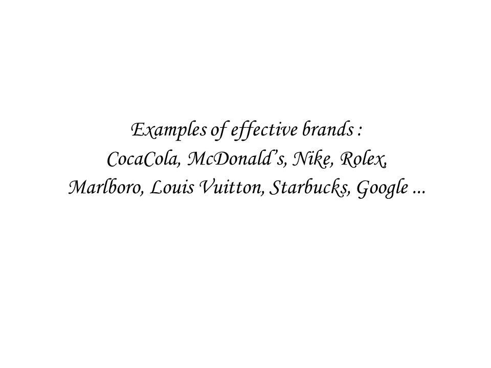 Examples of effective brands : CocaCola, McDonald's, Nike, Rolex, Marlboro, Louis Vuitton, Starbucks, Google...