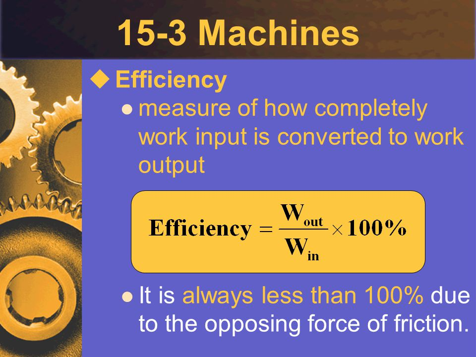15-3 Machines  Efficiency measure of how completely work input is converted to work output It is always less than 100% due to the opposing force of f