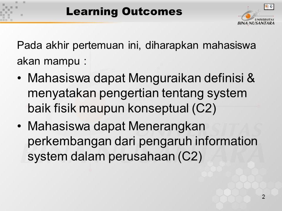 2 Learning Outcomes Pada akhir pertemuan ini, diharapkan mahasiswa akan mampu : Mahasiswa dapat Menguraikan definisi & menyatakan pengertian tentang system baik fisik maupun konseptual (C2) Mahasiswa dapat Menerangkan perkembangan dari pengaruh information system dalam perusahaan (C2)