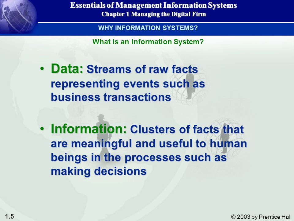 1.6 © 2003 by Prentice Hall Essentials of Management Information Systems Chapter 1 Managing the Digital Firm Figure 1-2 Data and Information WHY INFORMATION SYSTEMS.