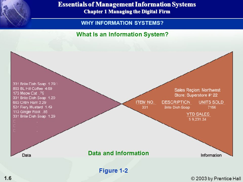 1.7 © 2003 by Prentice Hall INPUTOUTPUTPROCESS FEEDBACK Essentials of Management Information Systems Chapter 1 Managing the Digital Firm Activities in an Information System WHY INFORMATION SYSTEMS?