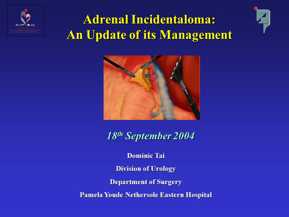Adrenal Incidentaloma: An Update of its Management 18 th September 2004 Dominic Tai Division of Urology Department of Surgery Pamela Youde Nethersole Eastern Hospital