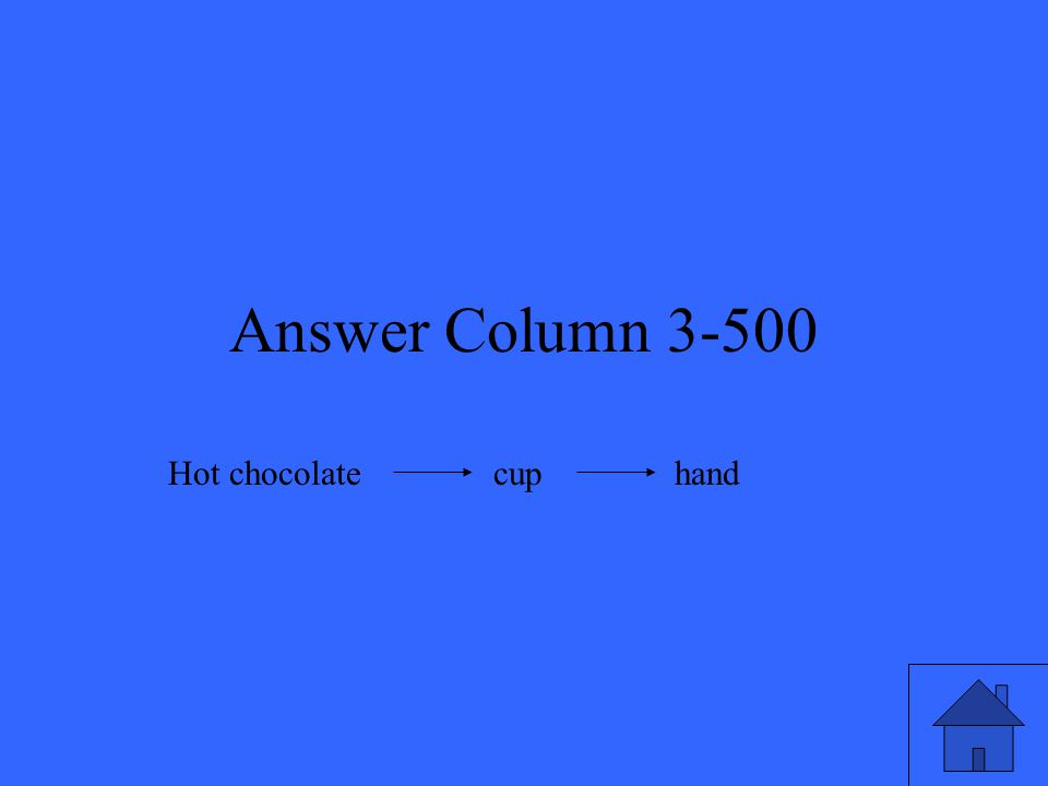 Answer Column 3-500 Hot chocolate cup hand