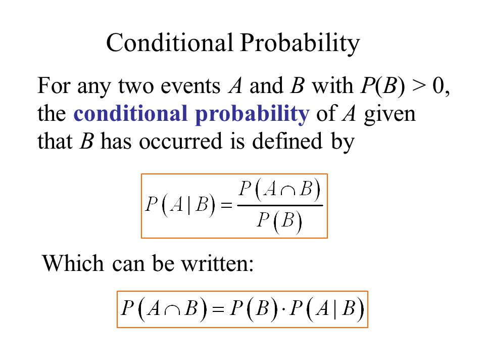 For any two events A and B with P(B) > 0, the conditional probability of A given that B has occurred is defined by Which can be written: