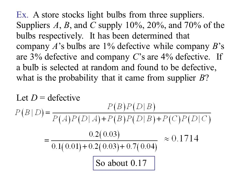 Ex. A store stocks light bulbs from three suppliers.